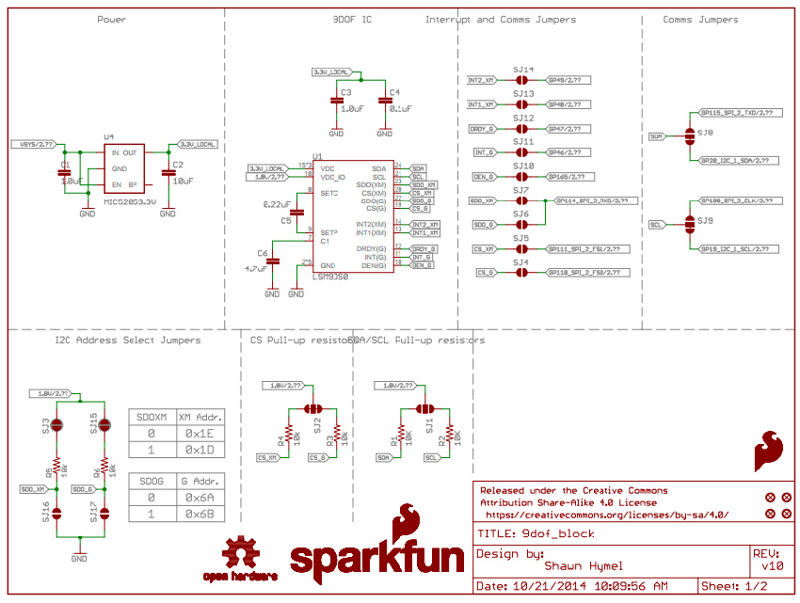 9 Degrees of Freedom SparkFun Block - Technical schematic