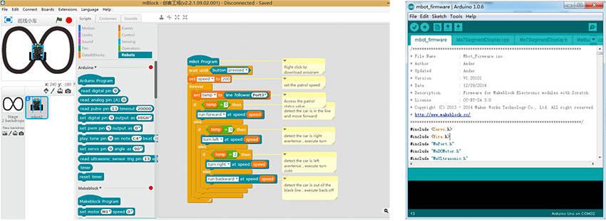 Interfaces Makeblock et IDE Arduino pour robot Makeblock