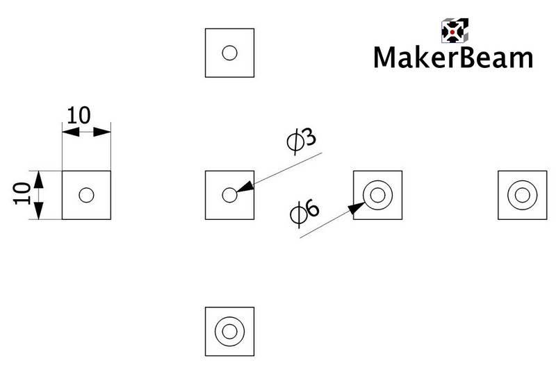 Schéma de référence du Cube d'angle MakerBeam