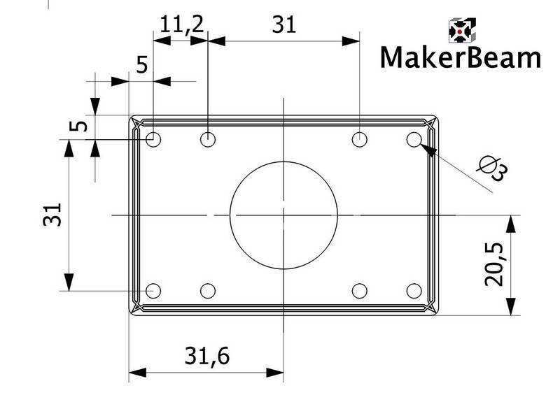 Schéma de référence du support MakerBeam pour moteur pas-à-pas
