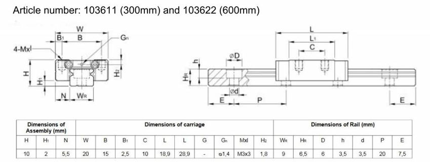 Technical drawing of the MakerBeam linear slide rail and carriage (600mm)