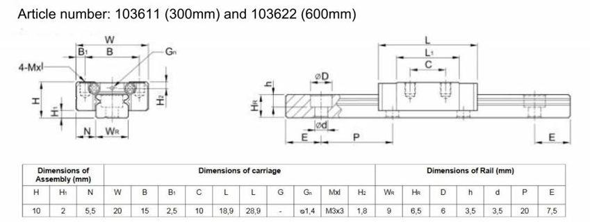 Schéma du rail de guidage linéaire MakerBeam (600mm)
