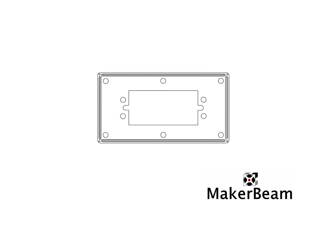 Technical drawing of the Servo bracket for MakerBeam