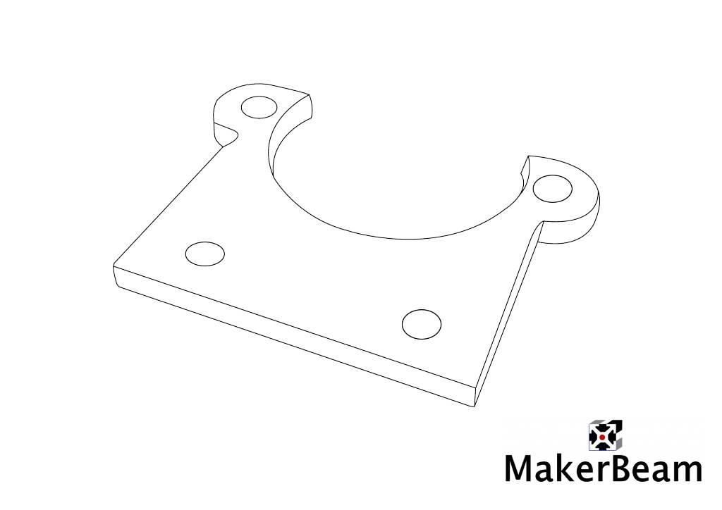 Schéma de référence du support plat MakerBeam pour micro moteur pas-à-pas