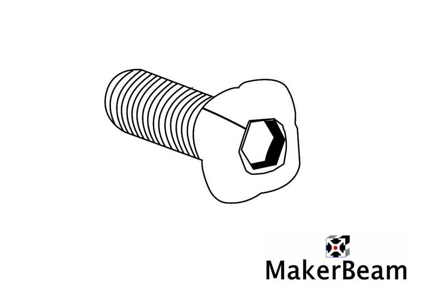 Technical drawing of the MakerBeam square headed 12mm M3 bolt with hex hole