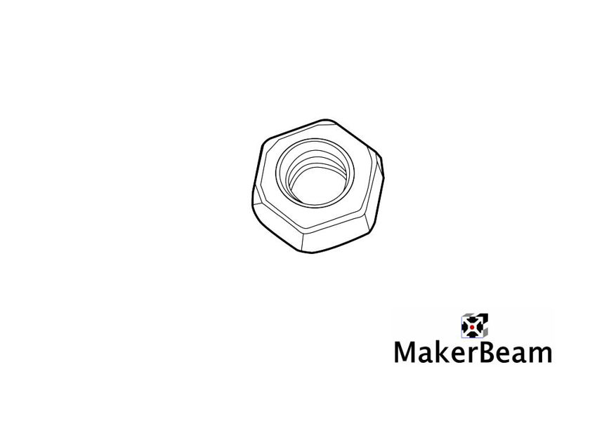 Referenzschema der Selbstsichernde M3 Muttern für MakerBeam