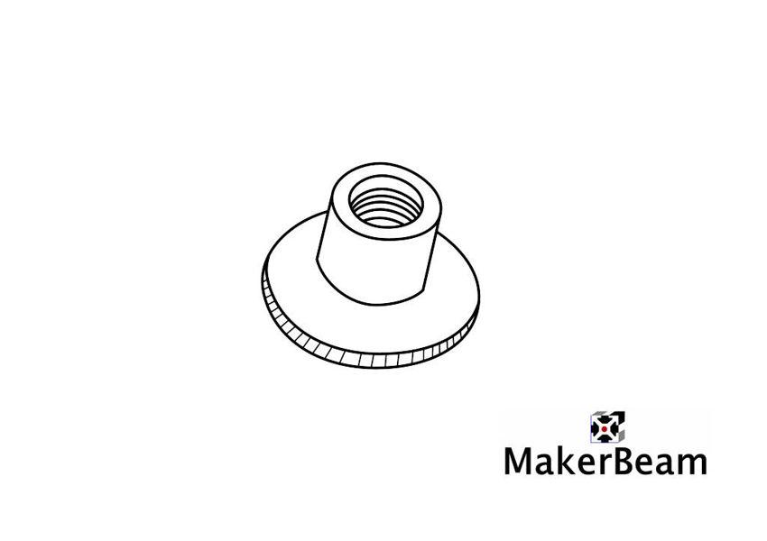 Referenzschema der M3 Rändelmuttern für MakerBeam