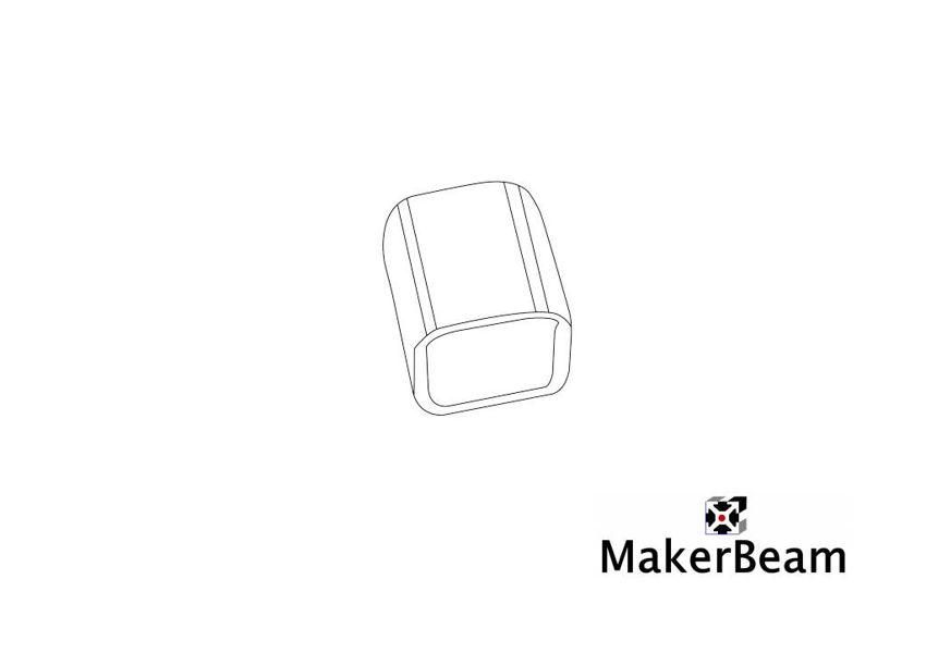 Technical drawing of the MakerBeam black vinyl end cap