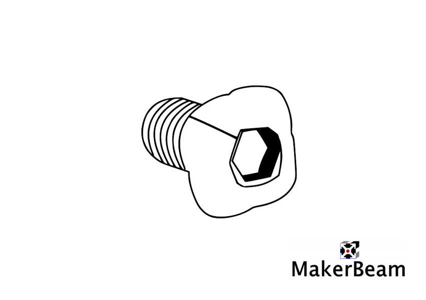 Technical drawing of the  Boulons avec tête carrée MakerBeam - 6mm M3