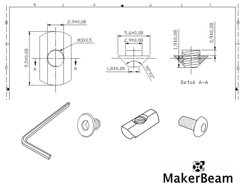 Technical drawing of the T-slot nut for MakerBeam