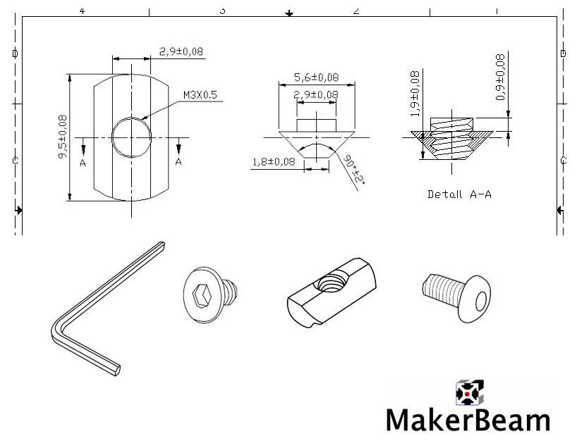 Schéma du plot de jonction MakerBeam
