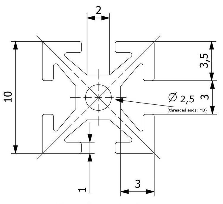 Schéma de référence du profilé taraudé MakerBeam 100mm