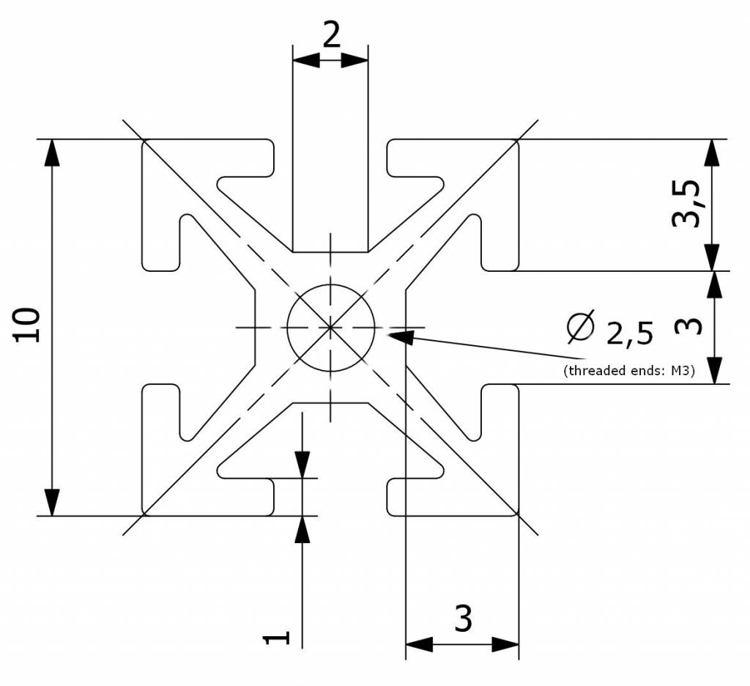 Referenzschema des MakerBeam Profils mit Gewindebohrung 1500 mm