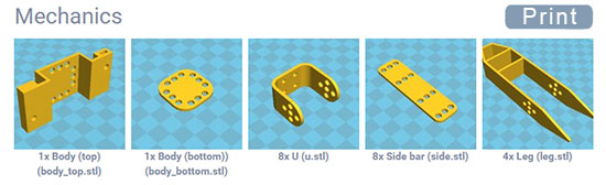 Electronic and mechanical components for the Metabot open source legged platform
