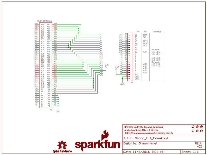 >micro:bit Breakout technical schematic