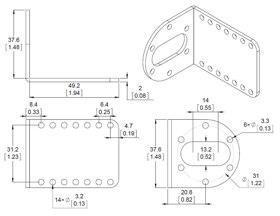 Supports aluminium en L pour moteurs CC Métal : dimensions