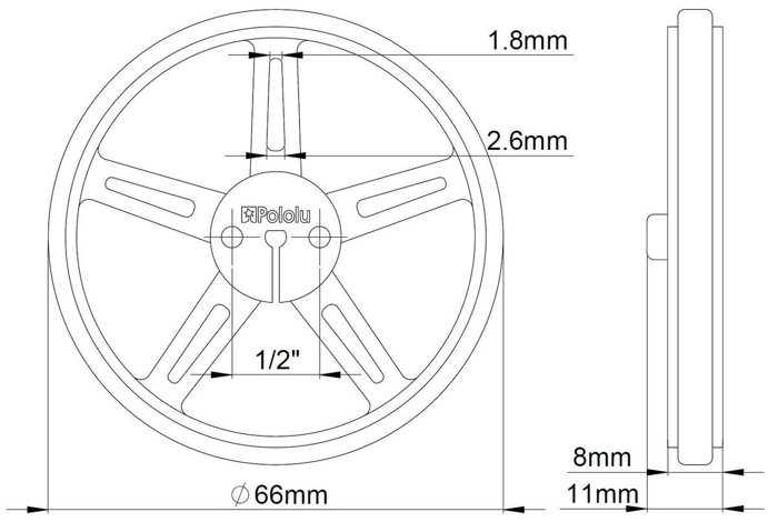 Pololu Wheel 70×8mm Pair - White technical drawing