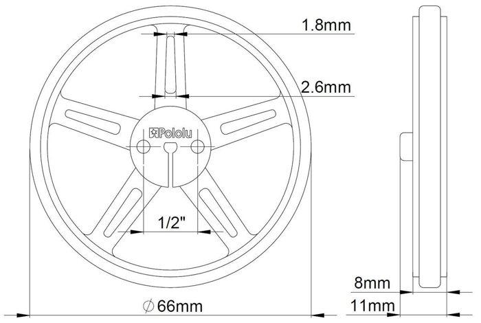 Technische Zechnung der Räder Pololu 70x8mm für mobile Roboter