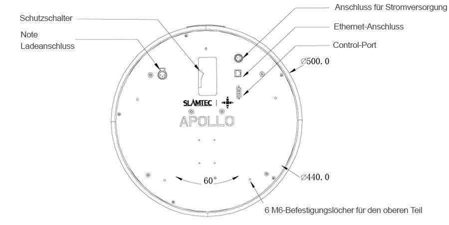 Roboter Apollo: Technische Zeichnung der Obere Montageplatte
